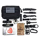Tianers Survival Gear Kit 15-in-1, Outdoor Emergency Survival Tool with Military Compass, Saber Card, Whistle, for Travel Hike Field Camp (13-in-1)