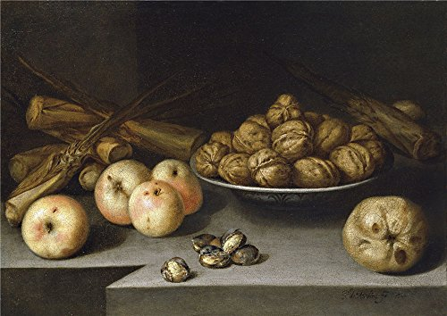 Oil Painting 'Medina Pedro De Bodegon Con Manzanas Plato De Nueces Y Cana De Azucar 1645' 12 x 17 inch / 30 x 43 cm , on High Definition HD - Finder Store Myer