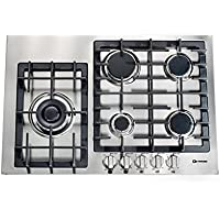 Verona VECTGM305SS 30 Designer Series Gas Cooktop With 5 Burner Design Front Controls Sealed Burners Heavy Duty Cast Iron Grates & Caps and 20 000 BTU tested in Stainless