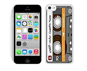 TPU Iphone 5c White Case Coolest Audio Cassette Soft Silicone Rubber Cell Phone Cover