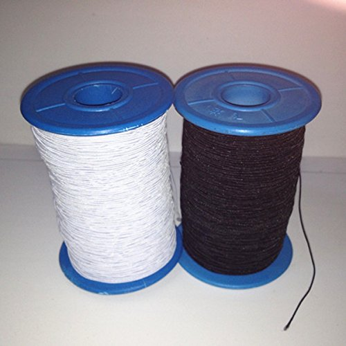 WellieSTR (2 Rolls) White AND Black Elastic Thread 547 Yard Package 0.5mm Thickness