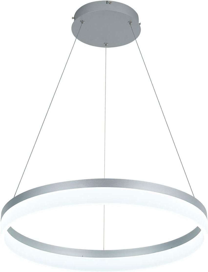 LED Modern Chandelier 1-Ring Circular Pendant Light Flush Mount Pendant Lighting for Living Room Dining Room, 6000k, Silver, by ROYAL PEARL