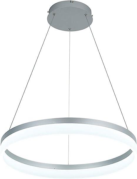Led Modern Chandelier 1 Ring Circular Pendant Light Flush Mount Pendant Lighting For Living Room Dining Room 6000k Silver By Royal Pearl Amazon Com