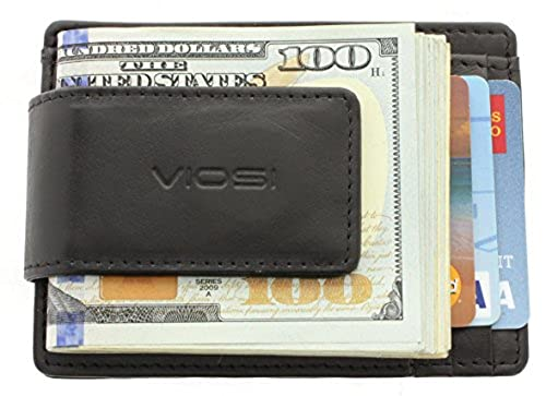 09. Viosi Genuine Kingston Leather Magnetic Front Pocket Money Clip Made with Powerful RARE EARTH Magnets