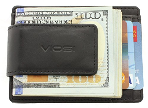 Viosi Genuine Kingston Leather Black Front Pocket Money Clip Made with Powerful RARE EARTH Magnets and Gift Box