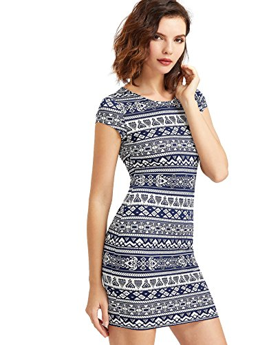Romwe Women's Boho Bodycon Dress Cap Sleeve Mini Pencil Dress Muliticolor S