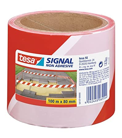 tesa UK Signal Non-Adhesive Barrier Tape for Marking of Hazardous Areas, 100 m x 80 mm 58137-00000-00
