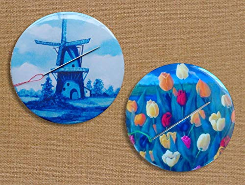 "Two Magnetic""Pin Cushions"" and/or Fridge Magnets, 3.5"", Original Art, Dutch Delft Blue Windmill, Tulips, Holland"