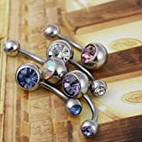 BODYA® pack of 5 double jewel surgical steel belly button navel barbells rings Body Piercing jewellery Bild 3