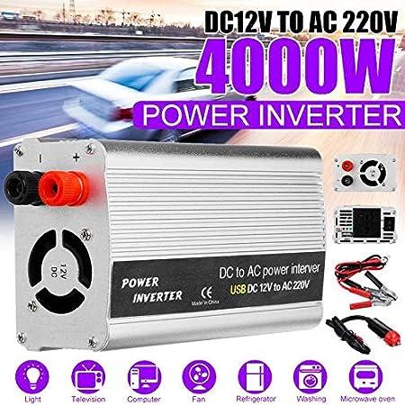 adaptador de convertidor de cargador USB modificado Sine W-ave DC 12V//24V a AC 220V Inversor de corriente para autom/óvil de 2000 W