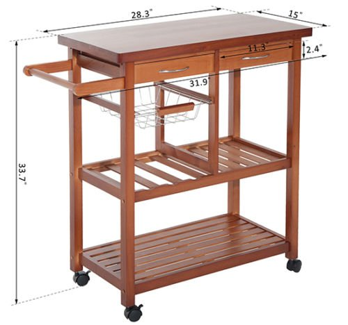 New Wood Portable Rolling Home Storage Cart Drawers Kitchen Table Trolley
