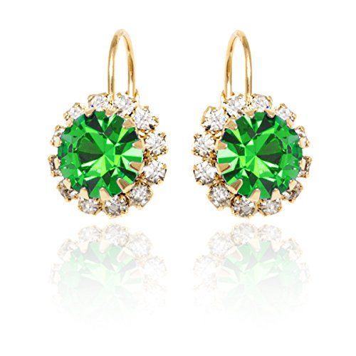 Gold & Crystal Flower Earrings Made with Swarovski Elements (Green) - Element Green Earrings
