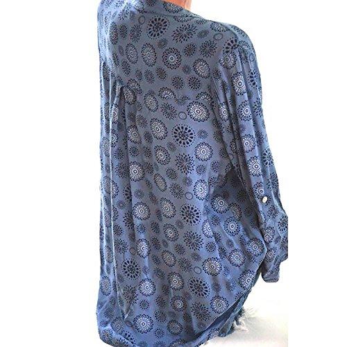 LULIKA De Manches Blue en Longues GOmTrique pour Femme Chemise Encolure Imprim Et Haut V rHTUw5qr