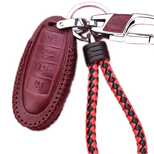 Genuine Leather Protective Fob Skin Cover Shell Key Jacket for Nissan Infiniti Keyless Smart Key Case Cover 4 Buttons(for G Series G25 G37 JX35 Q Series Q50 Q60S Q70L QX EX FX M) (Wine Red)