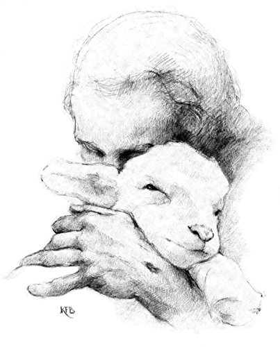 Shepherd Lamb - Katherine F. Brown Jesus and the Lamb Print