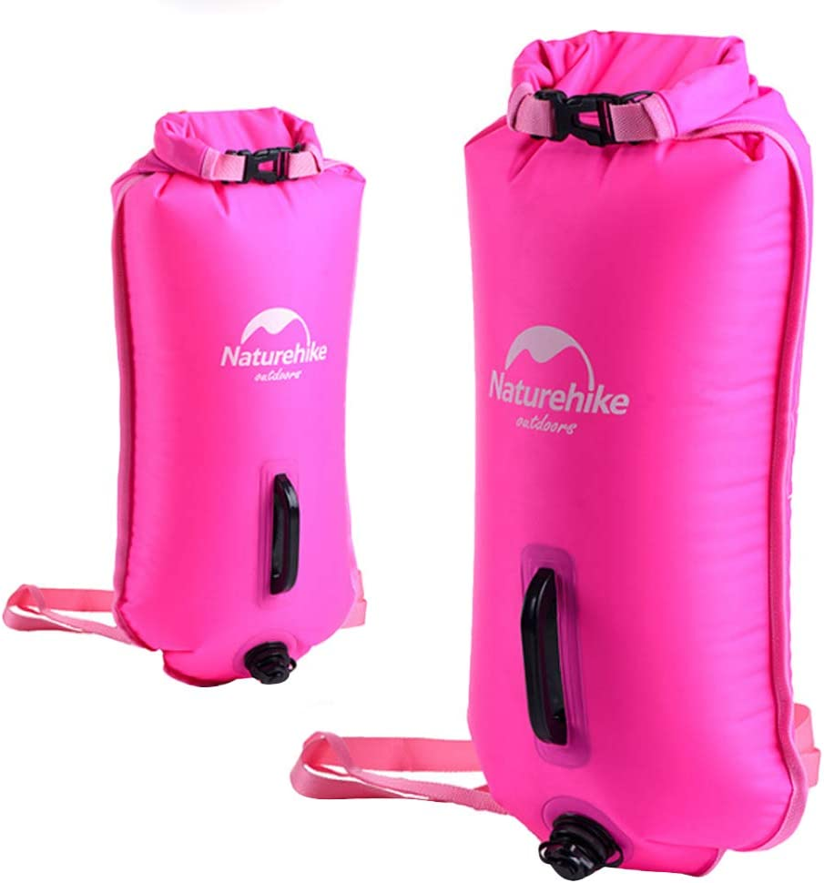 Diving Snorkeling Outdoor Sports Kayaking IPOTCH Waterproof Swim Buoy Dry Bag Inflated Floatation Device /& Waist Belt for Open Water Swimming Surfing