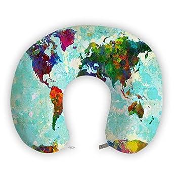 EnjoyIt Colorful World Map U-Shape Memory Foam Travel Neck Pillow Super Soft Neck Support Pillow