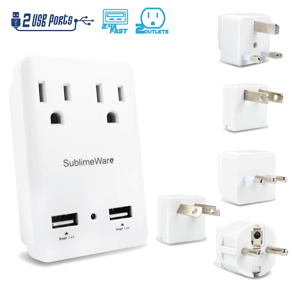 2000 W Travel Adapter Kit w/ 2 USB Ports & US Outlets - International Travel Adapter Plug Europe US UK China Ireland - Smart 2.4 A USB Electrical Charger Dual Voltage Device Sublimeware