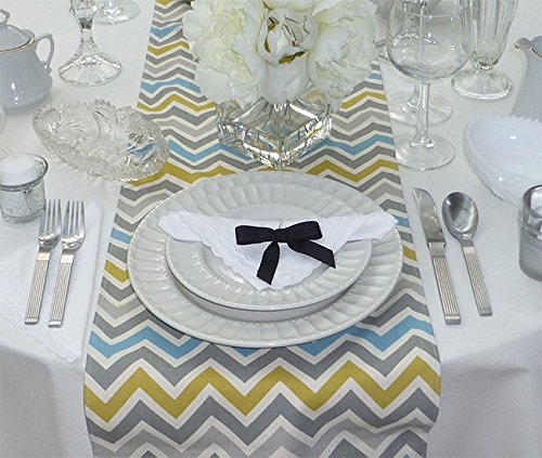 Appleberry Attic Chevron Zoom Table Runner Collection (Grey, Blue, Ochre Yellow) Handmade in USA ()