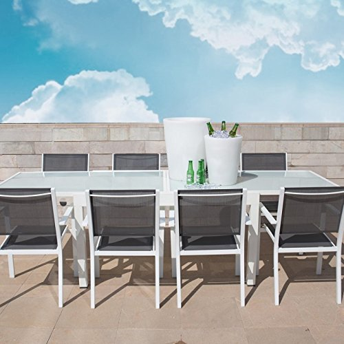 Mesa de jardín extensible 80/160 en aluminio blanco y ...