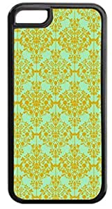01-Floral Damask Pattern-Gold/Green Case for the APPLE IPHONE 5c ONLY-Hard Black Plastic Outer Case with Tough Black Rubber Lining