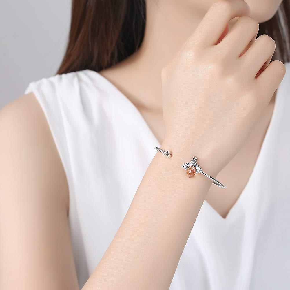 TONGZHE Honeycomb Bee Open Cuff Bangle Bracelet Sterling Silver 925 Cubic Zirconia CZ for Women Girls 7