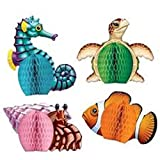 Beistle 50449 4-Pack Sea Creatures Playmates, 5-1/2-Inch