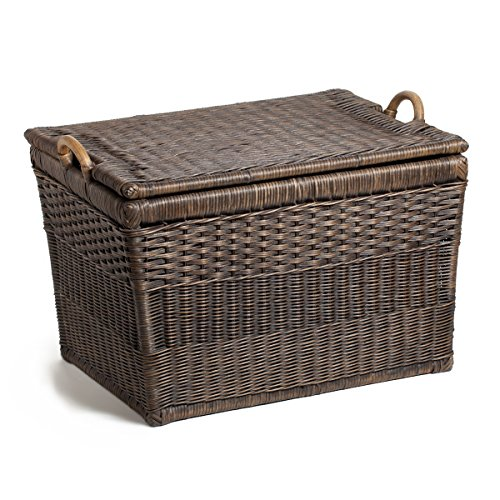 The Basket Lady Lift-off Lid Wicker Storage Basket, Large, Antique Walnut Brown (Baskets Wicker Antique)