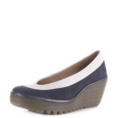 Fly London - Zapatos Yoko Tacon de Cuña Azul Marino Blanco Peltre - Azul  marino blanco peltre b4f90c75fca0