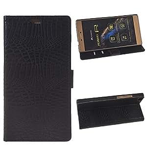Huawei P8 Case,COOLKE [Negro] cocodrilo Cuero sintético de Flip Funda Con Soporte Plegable Carcasa Funda Tapa Case Cover para Huawei P8