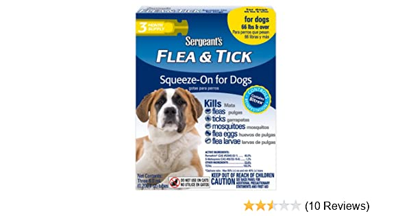 Amazon.com : Sergeants Flea and Tick Squeeze-On for Dogs, Over 66 lbs : Pet Flea Drops : Pet Supplies
