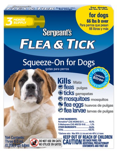 Sergeant's Flea and Tick Squeeze-On for Dogs, Over 66 - Flea And Tick Sergeants