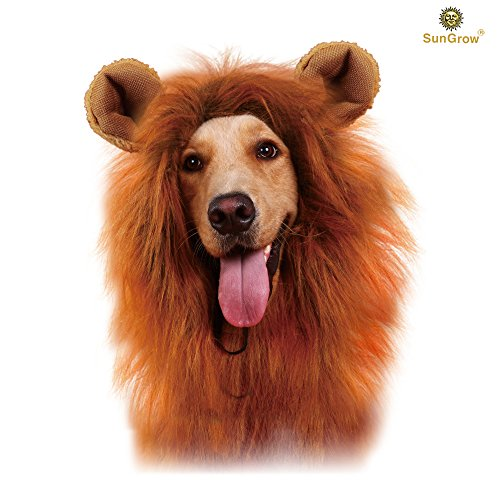 [SunGrow Lion Mane Costume with Ears for Big Dogs & Cats: Get your pet dressed up in the cute adorable mane ever! Perfect for Halloween & Costume] (Make Lion Costume For Dogs)