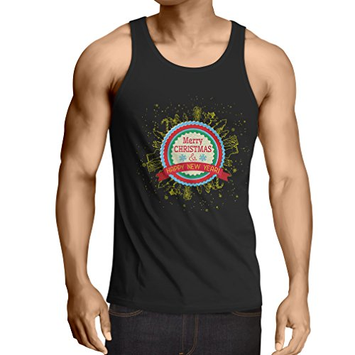 lepni.me Men's Tank Top Merry Christmas and Happy New Year - Holiday Outfits (XXXXX-Large Black Multi Color) for $<!--$17.04-->