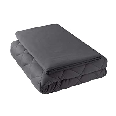 Hypnoser Weighted Blanket 2.0 King Size for Couple,Heavy Blanket Providing Calm and Comforting Sleep,Sleep Faster (80 x87  30 Lbs, Dark Grey,Fit King Size Bed)(Duvet Cover Included)