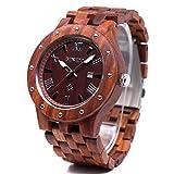 Bewell Men's Wood Quartz Watches Roman Date Luminous Wooden Wrist Watch W109A (Red Sandalwood)
