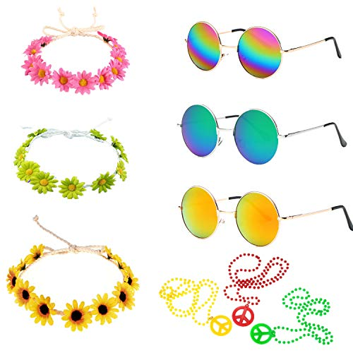 60s 70s Women Girl's Hippie Dressing Accessory Set, Hippie Glasses, Peace Sign Necklaces, Daisy Sunflower Hairbands for Summer Wearing -