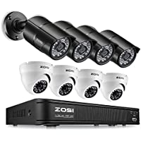 ZOSI 8-Channel HD-TVI 1080P Lite Video Security Camera System,Surveillance DVR Recorder and (8) 1.0MP 1280TVL Indoor/Outdoor Weatherproof Cameras with IR Night Vision LEDs (No Hard Drive)