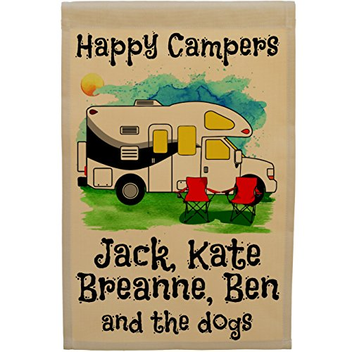Personalized Happy Campers Class C Motorhome Camping Flag  Watercolor Design  Tan Fabric  Black Trim Color