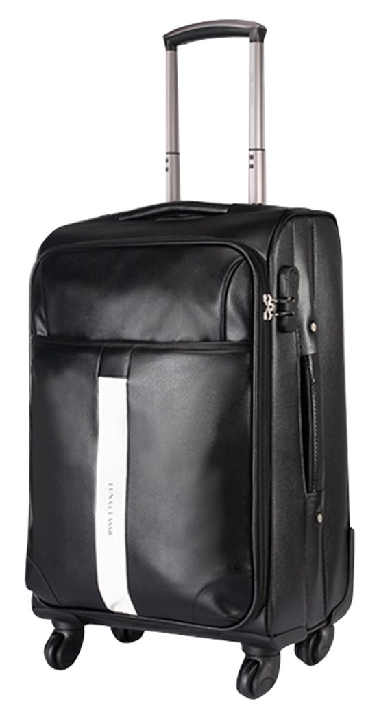 Men PU Leather Spinner Black Luggage - 24 Inch Suitcase