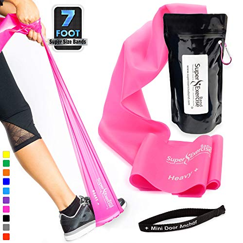 SUPER EXERCISE BAND Heavy+ Fuchsia Pink 7 ft. Long Resistance Band with Mini Door Anchor, Carry Pouch. Latex Free Home Gym, Fitness, Strength Training, Physical Therapy, Yoga, Pilates, Chair Workouts.