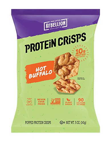 POPCORNERS Our Little Rebellion Protein Crisps, Hot Buffalo Popped Protein Crisps, Gluten Free, Non-GMO, 5oz bags (Pack of 12)