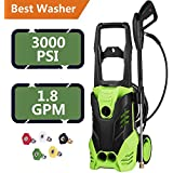ncient FTH-5200 Electric High Pressure Washer Electric Power Washer 3000 PSI 1.8 GPM 1800W Sprayer Professional Washer Cleaner Machine with 5 Quick-Connect Spray Nozzles [US Stock] (3000PSI)