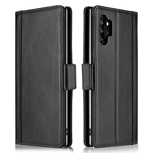 ProCase Galaxy Note 10+ Plus/5G Genuine Leather Case, Vintage Wallet Folding Flip Case with Kickstand Card Holders Magnetic Closure Protective Cover for Galaxy Note 10+ / Note 10 Plus /5G 2019 -Black (Flip Fold Wallet)
