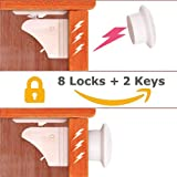 8 Locks + 2 Keys Safety Baby Magnetic Cabinet Locks - Children Proof & Self Sticking 3M Adhesive for Cabinets & Drawers, Latches - No Tools or Screws Needed (8 Locks + 2 Keys)