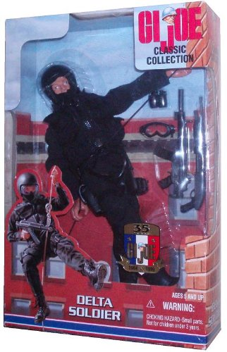 G.I. Joe Year 1999 Classic Collection 35th Anniversary 12 Inch Tall Action Figure - Delta Soldier with Balaclava, Ballistic Helmet, Goggles, Assault Vest, Pistol and Holster, Coveralls, Assault Boots, Heckler & Koch MP5 SD3 Submachine Gun, 12-Gauge Shotgun, Flash/Bang Grenades and Hip Pouch, Rappeling Belt with Climbing Rope and Hook