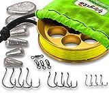 Yoyito Freshwater Aluminum Hand Line Reel Pocket Emergency Survival Fishing Kit (Gold Reel / 30 lb Hi-Viz Yellow line/Bright Green Case)
