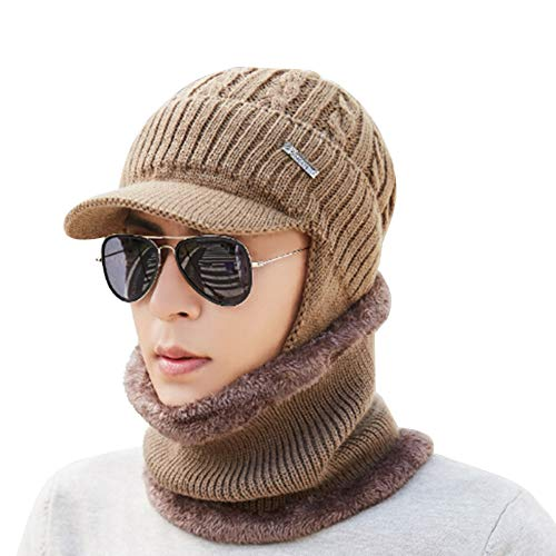 - 2 Piece Beanie Hat Scarf Set Winter Warm Unisex Knit Hat Thick Knitted Skull Cap with Earflaps Scarf Gift Set for Men Women,Camel