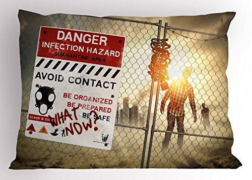 Ambesonne Zombie Decor Pillow Sham, Dead Man Walking Dark Danger Scary Scene Fiction Halloween Infection Picture, Decorative Standard King Size Printed Pillowcase, 36 X 20 inches, Multicolor]()
