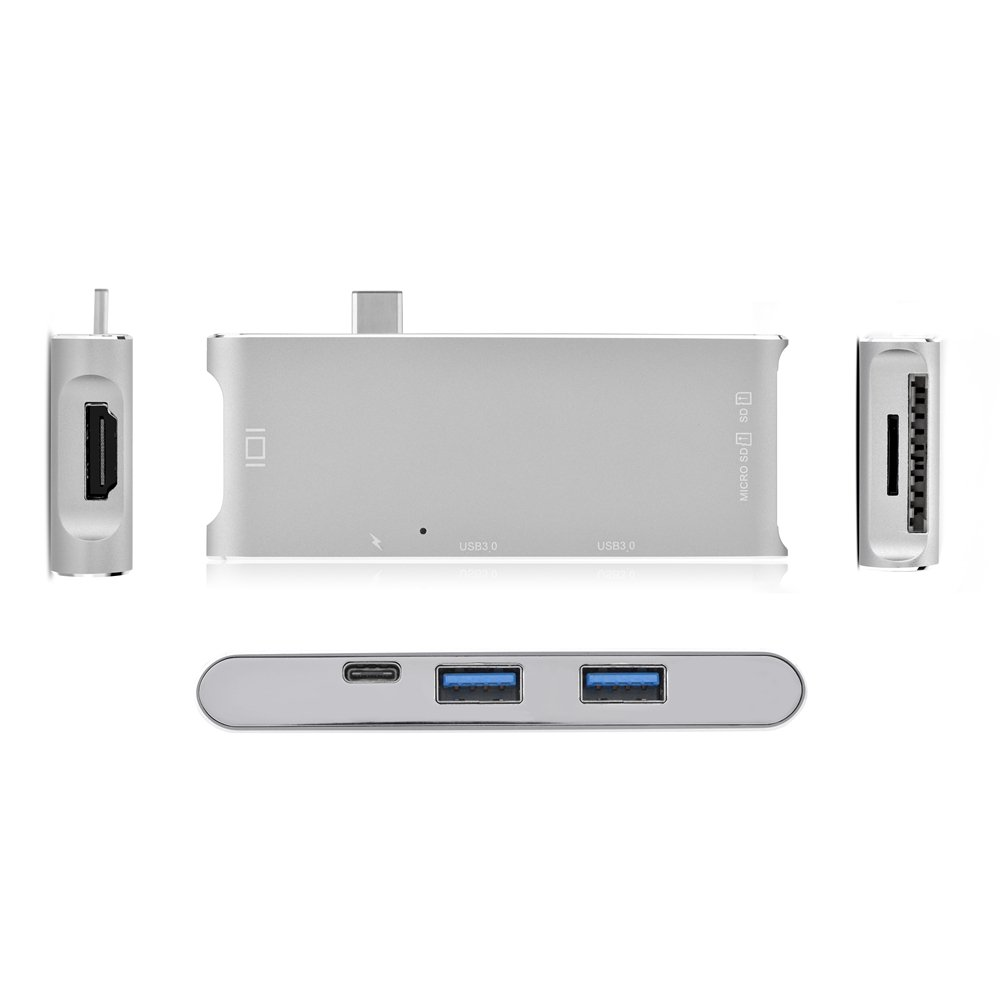 Fosa 6 In 1 USB3.1 Type-C to 2 Port USB 3.0 Hub TF / SD Card Reader with 4K HDMI & USB-C PD Port(Silver) by fosa (Image #7)